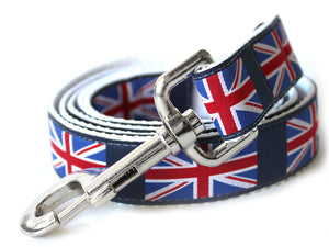 London Calling Dog Leash on Black Backing