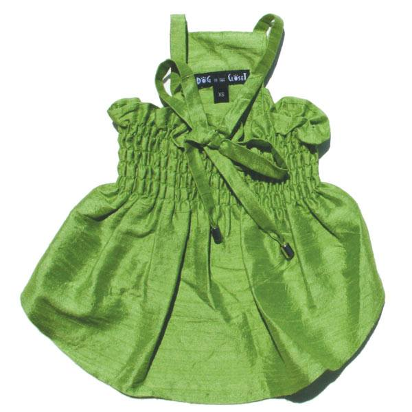 Bailey Green Silk Dog Dress