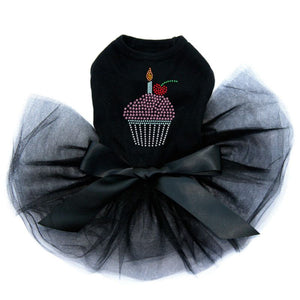 Cupcake With Candle Dog Tutu - Black