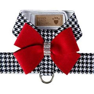 Black and White Houndstooth Red Nouveau Bow Tinkie Harness