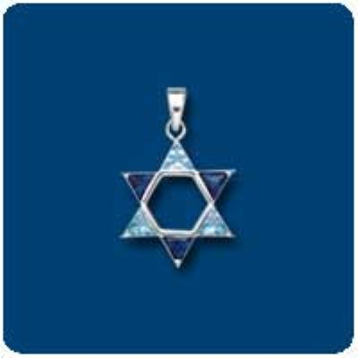 Blue CZ Star of David Charm