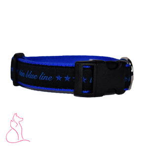 Thin Blue Line Stars Dog Collar (Blue)