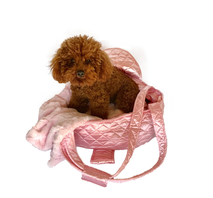 Brit Quilted Carrier in Pink Satin