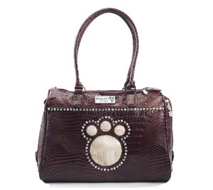 SET - Brown Paw Carrier & Leash with Austrian Crystals