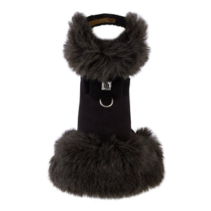 Black Fox (Faux) Fur Coat with Big Bow
