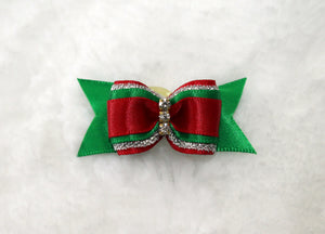 Red and Green  Christmas Bow