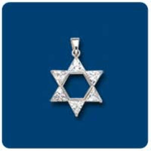 Clear CZ Star of David Charm