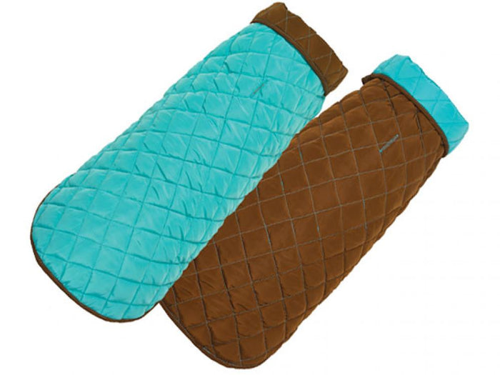 Diamond Quilted Dog Coat - Aqua and Brown