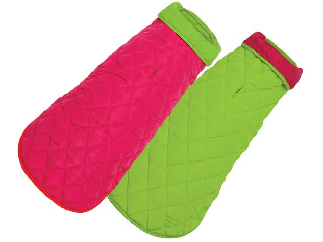 Diamond Quilted Dog Coat - Pink Lime
