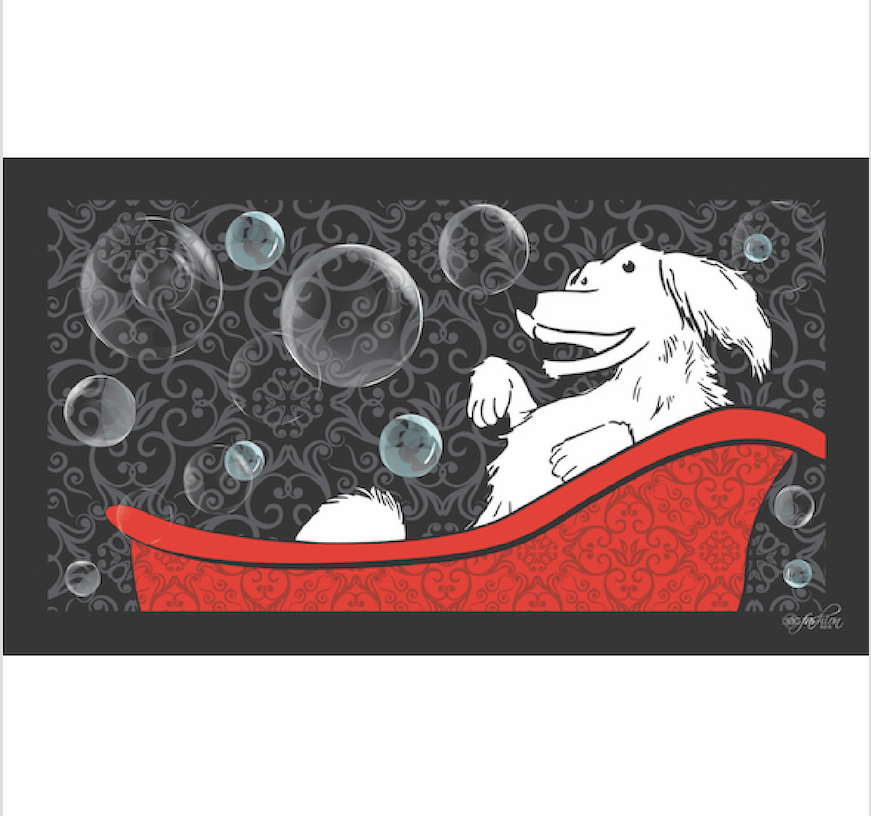 Non-Slipping Bathtub or Sink Mat: Happy Dog Design