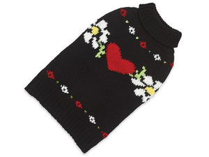 Hearts and Flowers Hand Knit Dog Sweater - Out Of Stock