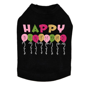 Happy Birthday Balloons (Pink) - Dog Tank - Choose Color