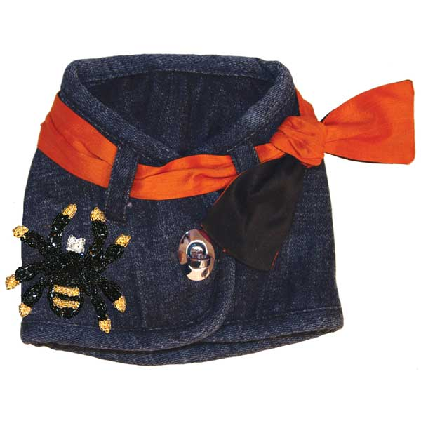 Hollywood Denim Dog Vest with Spider Patch