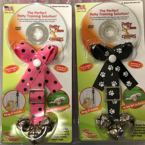 Black and Pink Dots +  Black & White Dots (2) Potty Chimes Dog Training Bells