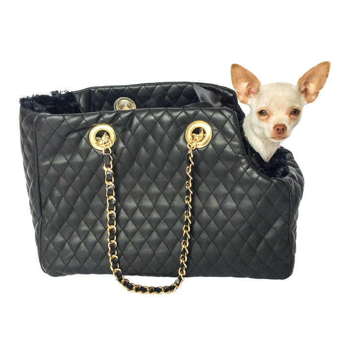 Kate Carrier in Quilted Black with Chain Straps