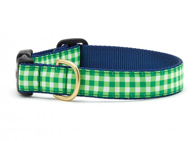 Lime Gingham Dog Collar