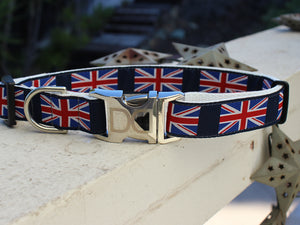 London Calling Dog Collar on Navy Backing