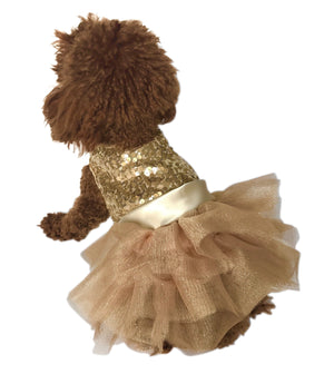 Marilyn Fufu Tutu Dog Dress, Lt. Gold Sequins