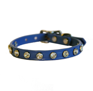 Minnie Maddie Leather Dog Collars w/ Swarovski Crystals Blue