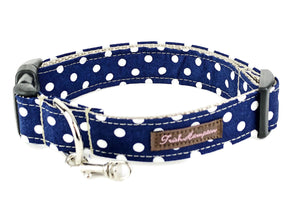 Navy / White Polka Dots Dog Collar