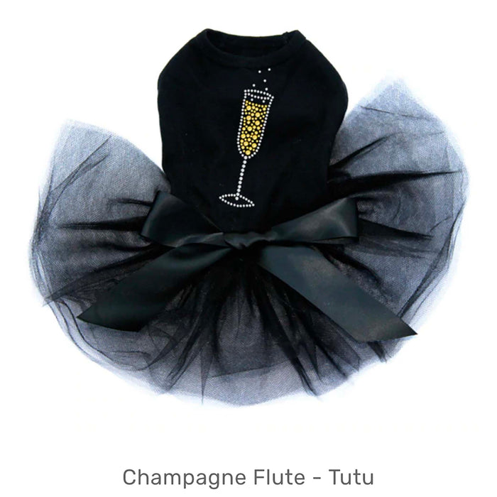 Happy New Year Champagne Flute Black