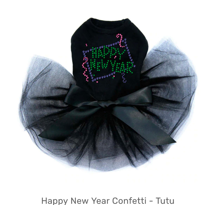 Happy New Year Confetti Black