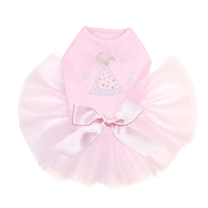 New Year Party Hat Dog Tutu Pink