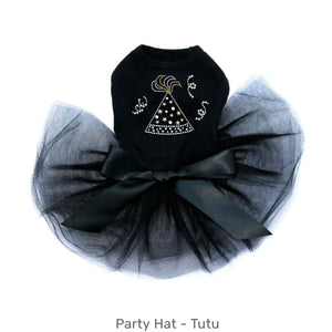 New Year Party Hat Dog Tutu Black