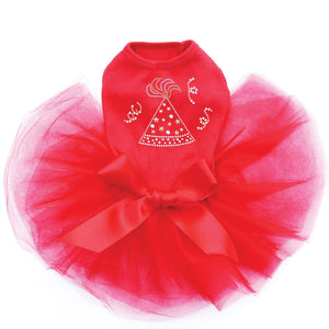 New Year Party Hat Dog Tutu Red