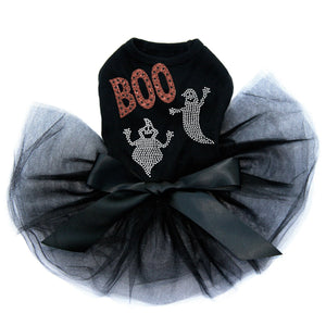 Orange Glitter Boo with Rhinestone Ghost - Tutu - Black, Pink or Red