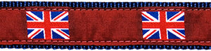 British Flag on Red Ribbon Dog Collar