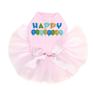 Blue Birthday Balloons Dog Tutu - Pink