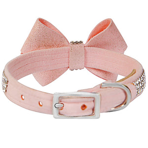 Puppy Pink Glitzerati Nouveau Bow 3 Row Giltmore Collar