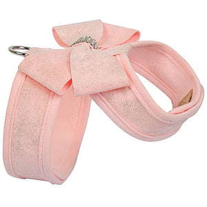 Puppy Pink Glitzerati Really Nouveau Bow Tinkie Harness with Puppy Pink Trim