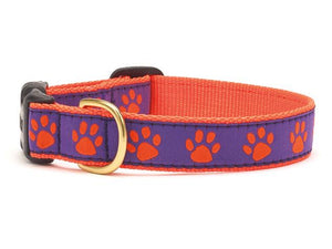 Purple Orange Paw Dog Collar