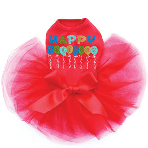 Blue Birthday Balloons Dog Tutu - Red