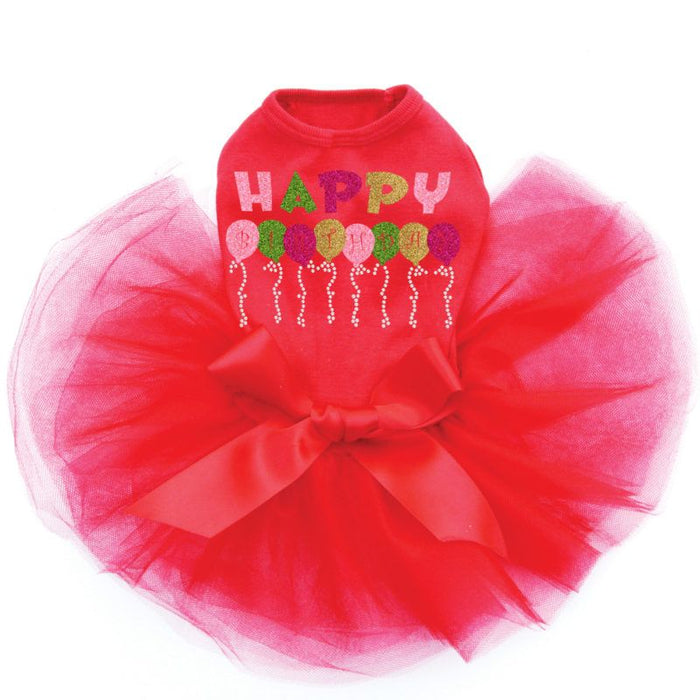 Pink Birthday Balloons Dog Tutu - Red