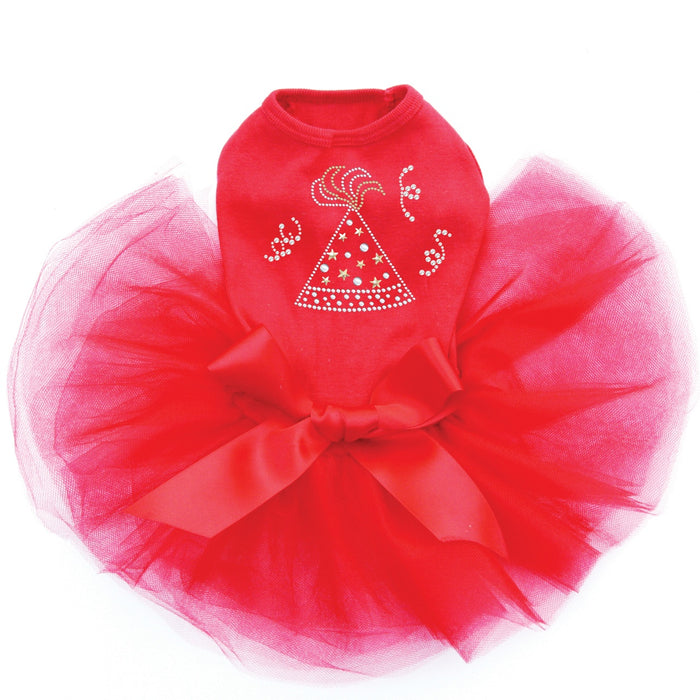 Party Hat Dog Tutu - Red
