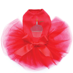 Cupcake With Candle Dog Tutu - Red
