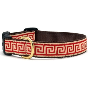 Red Greek Key Dog Collar