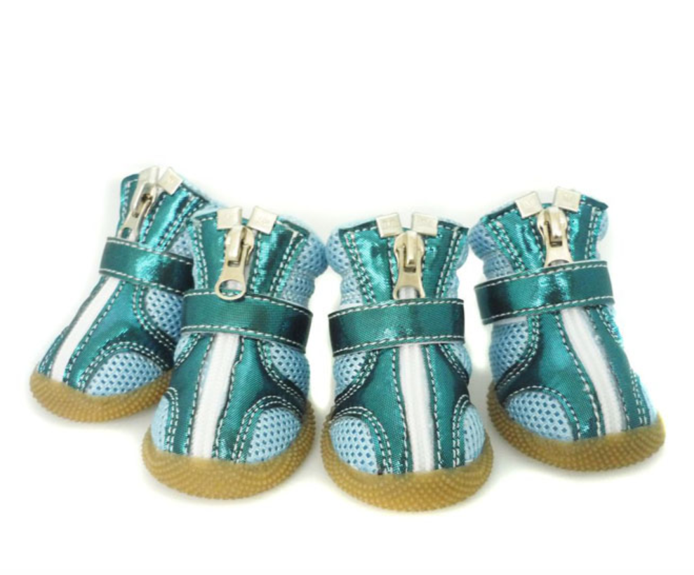 Sporty Dog Boots Teal Metallic