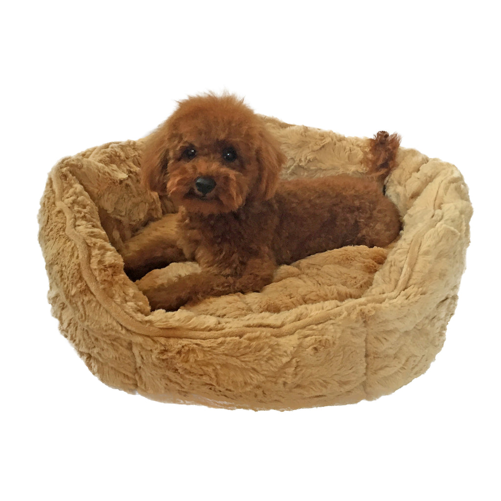 Caramel Faux Fur Shell Bed