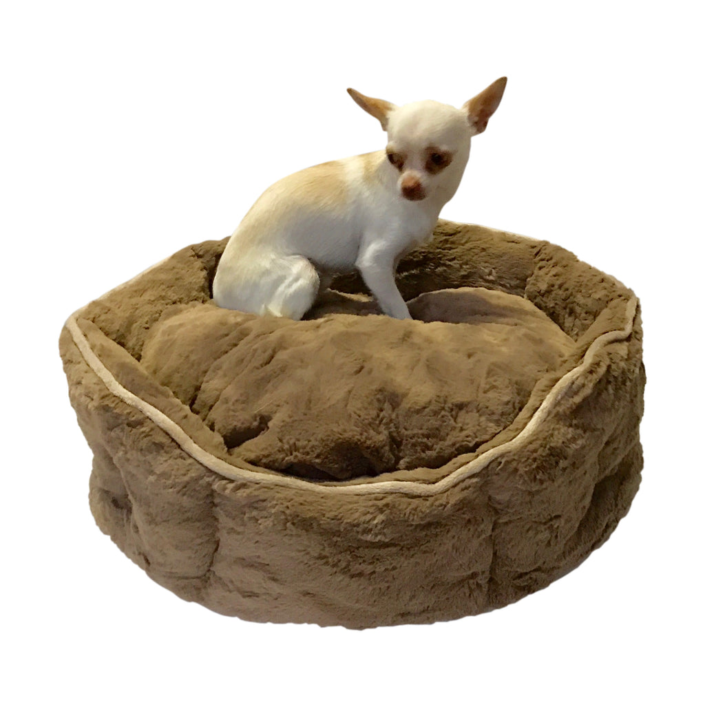 Mocha Faux Fur Shell Bed