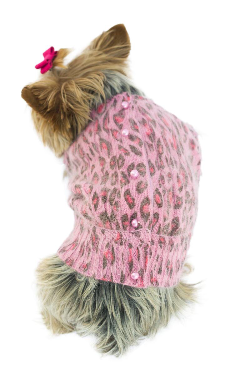 Marilyn Button Back Angora Blend Cardigan, Light Pink Leopard