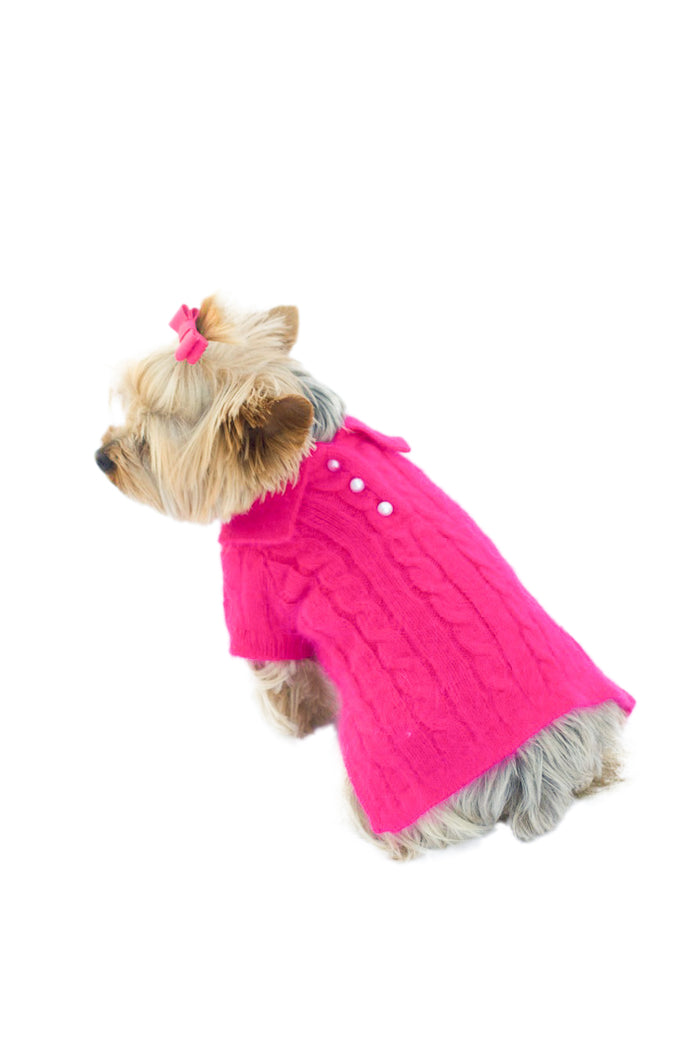 Luxury Preppy Angora Blend Polo, Fuchsia