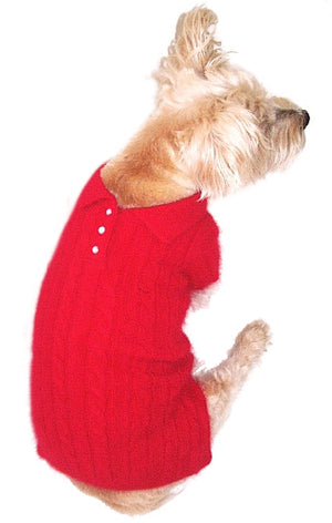 Luxury Preppy Angora Blend Polo, Red
