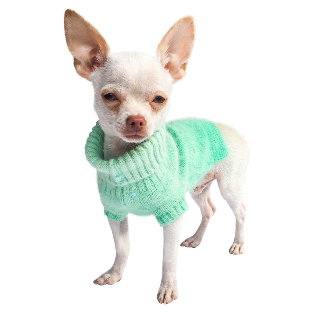 Luxury Sparkle Angora Blend Turtleneck, Seafoam Dip Dye