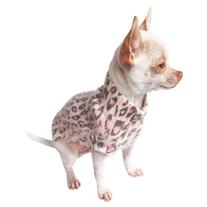 Movie Star Mock Neck Angora Blend, Light Pink Leopard