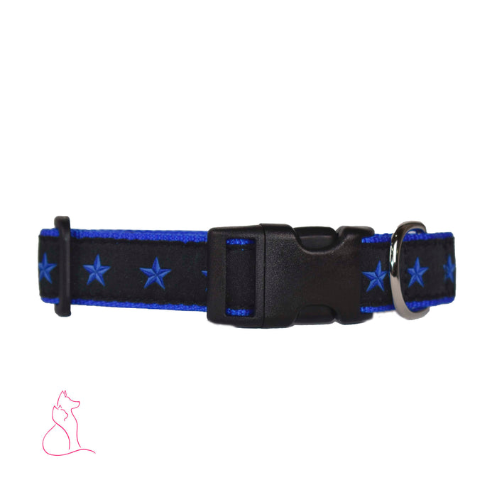 Blue Line of Stars Dog Collar (Blue)