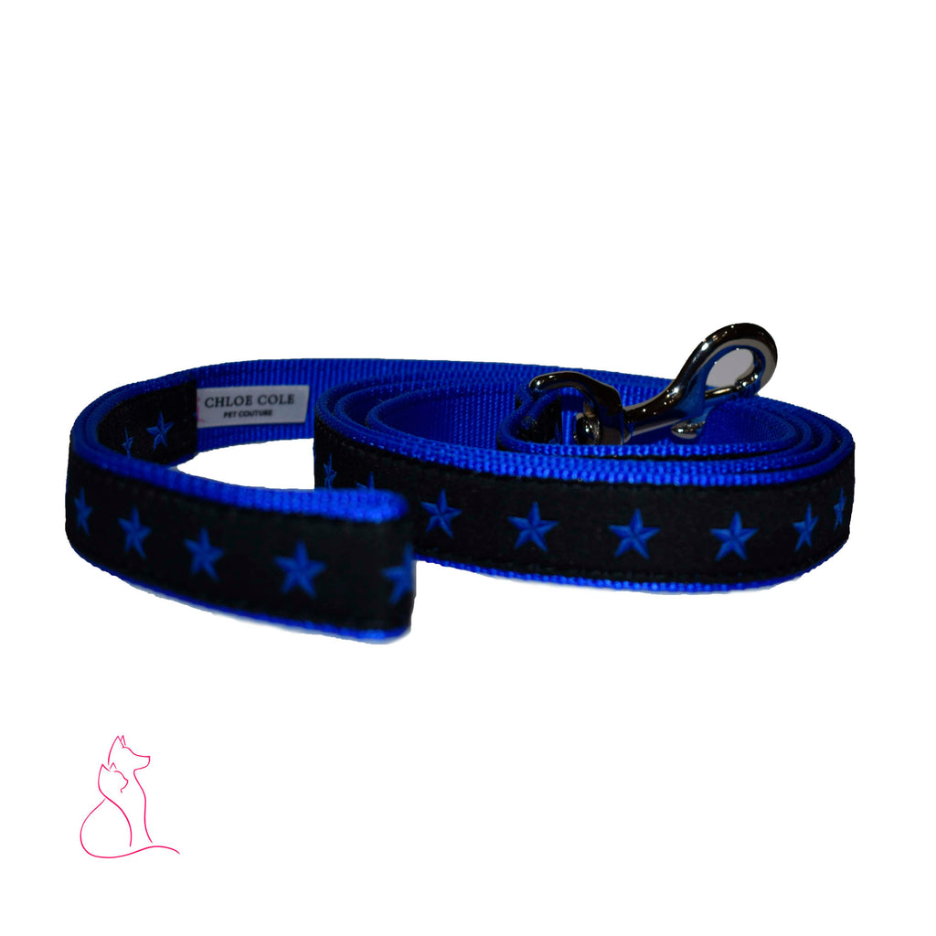 Blue Line of Stars Dog Leash (Blue)